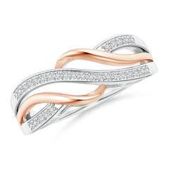 Angara Pave Set Diamond Interlocking Loop Two Tone Ring J6IzKsSS