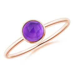 Bezel Set Round Amethyst Stackable Ring
