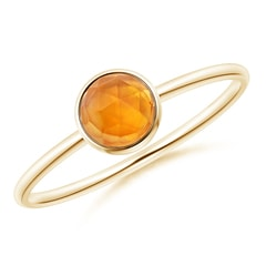 Bezel Set Round Citrine Stackable Ring