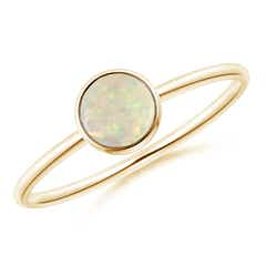 Bezel Set Round Opal Stackable Ring