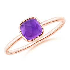 Bezel Set Cushion Amethyst Solitaire Ring