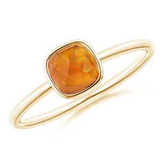 Bezel-Set Cushion Citrine Solitaire Ring