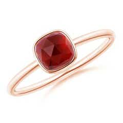 Bezel-Set Cushion Garnet Solitaire Ring