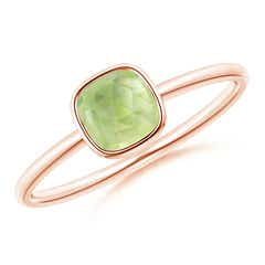 Bezel Set Cushion Peridot Solitaire Ring