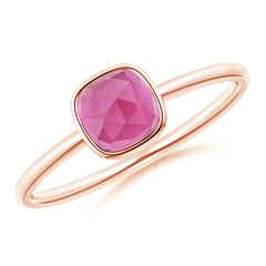 Bezel Set Cushion Pink Tourmaline Solitaire Ring