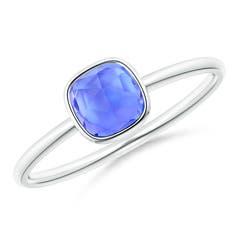 Bezel Set Cushion Tanzanite Solitaire Ring
