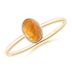 Classic Bezel-Set Oval Citrine Ring