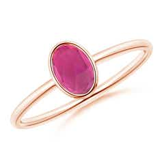 Classic Bezel-Set Oval Pink Tourmaline Ring