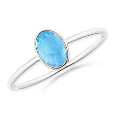 Classic Bezel-Set Oval Swiss Blue Topaz Ring