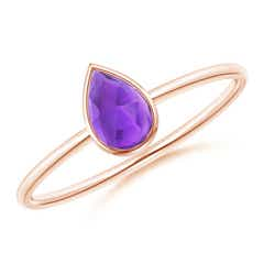 Pear-Shaped Amethyst Solitaire Ring