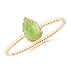 Pear-Shaped Peridot Solitaire Ring