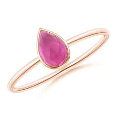 Pear-Shaped Pink Tourmaline Solitaire Ring
