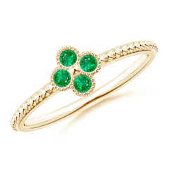 Emerald Four Leaf Clover Ring with Beaded Shank