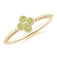 Peridot Four Leaf Clover Ring with Beaded Shank