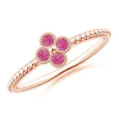 Pink Sapphire Four Leaf Clover Ring with Beaded Shank