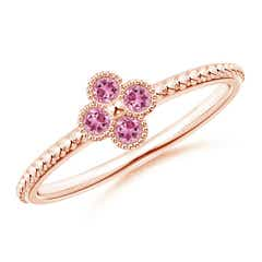 Pink Tourmaline Four Leaf Clover Ring with Beaded Shank