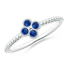 Sapphire Four Leaf Clover Ring with Beaded Shank