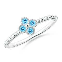 Swiss Blue Topaz Four Leaf Clover Ring with Beaded Shank