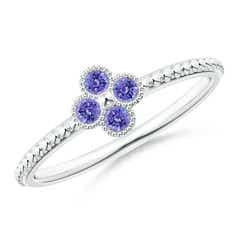 Tanzanite Four Leaf Clover Ring with Beaded Shank