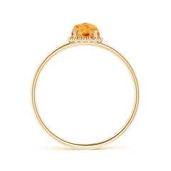 Toggle Solitaire Citrine Ring with Beaded Halo