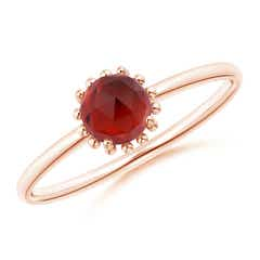 Solitaire Garnet Ring with Beaded Halo