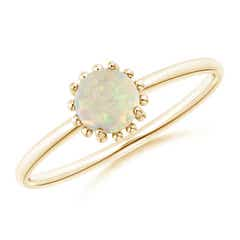 Solitaire Opal Ring with Beaded Halo