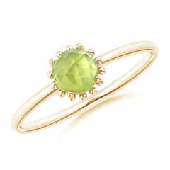 Solitaire Peridot Ring with Beaded Halo