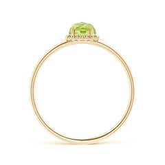 Toggle Solitaire Peridot Ring with Beaded Halo