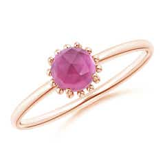 Solitaire Pink Tourmaline Ring with Beaded Halo