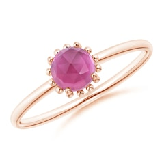 Angara Bezel-Set Pink Tourmaline Stackable Ring with Beaded Shank 9LOKDoee2G