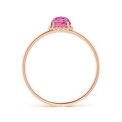 Toggle Solitaire Pink Tourmaline Ring with Beaded Halo