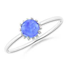 Solitaire Tanzanite Ring with Beaded Halo