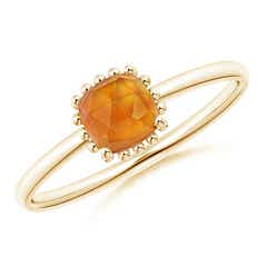 Classic Cushion Citrine Ring with Beaded Halo