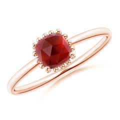 Classic Cushion Garnet Ring with Beaded Halo