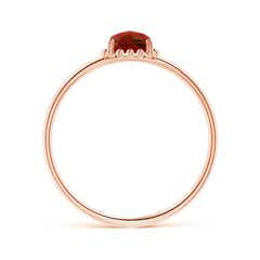Toggle Classic Cushion Garnet Ring with Beaded Halo