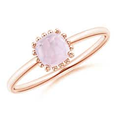Classic Cushion Morganite Ring with Beaded Halo