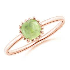 Classic Cushion Peridot Ring with Beaded Halo