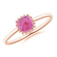 Classic Cushion Pink Tourmaline Ring with Beaded Halo