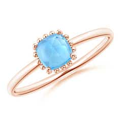 Classic Cushion Swiss Blue Topaz Ring with Beaded Halo