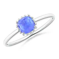 Classic Cushion Tanzanite Ring with Beaded Halo