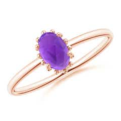 Classic Oval Amethyst Ring with Beaded Halo
