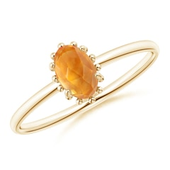 Classic Oval Citrine Ring with Beaded Halo