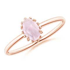Classic Oval Morganite Ring with Beaded Halo