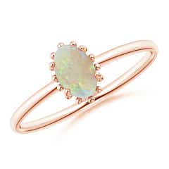 Classic Oval Opal Ring with Beaded Halo
