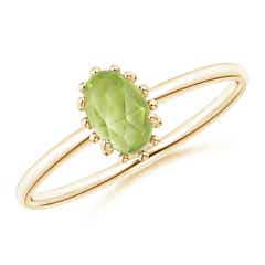 Classic Oval Peridot Ring with Beaded Halo