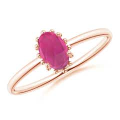 Classic Oval Pink Tourmaline Ring with Beaded Halo