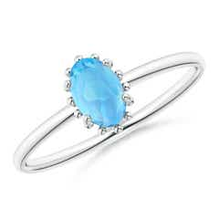 Classic Oval Swiss Blue Topaz Ring with Beaded Halo