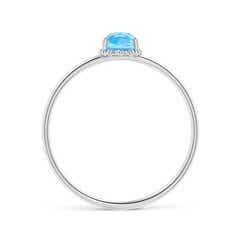 Toggle Classic Oval Swiss Blue Topaz Ring with Beaded Halo
