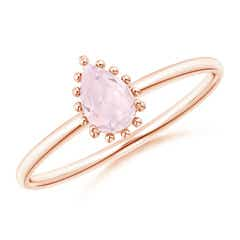 Pear-Shaped Morganite Beaded Halo Ring