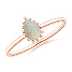 Pear-Shaped Opal Beaded Halo Ring
